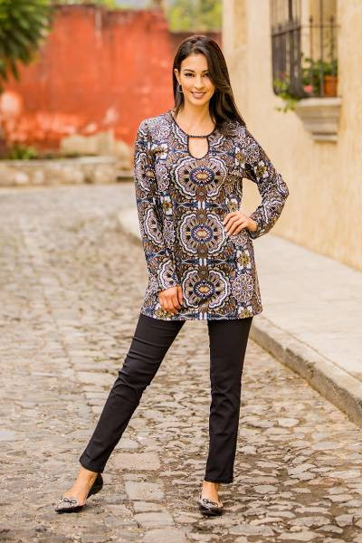 Rayon jersey tunic, 'Chrysanthemum' - Rayon Jersey Medallion Print Travel Tunic