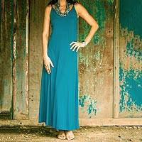 Jersey maxi dress, 'Cool Ocean Blue' - Jersey maxi dress