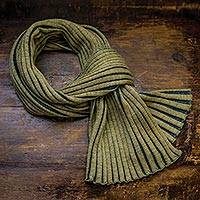 Wool scarf, 'Meridian' - Accordion Knit 100% Wool Scarf from Ireland