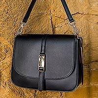 Leather shoulder bag, 'Plaza to Palazzo' - Black Tuscan Leather Shoulder Bag
