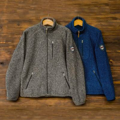 Men's wool blend jacket, 'Treviso Trek' - Men's Wool and Cotton Blend Zip Up Jacket