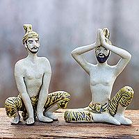 Celadon ceramic statuettes, 'Practicing Yoga' (pair) (Thailand)