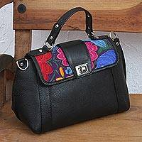 Cotton accent leather sling, 'Floral Passion' - Floral Cotton Accent Leather Sling Handbag from Mexico