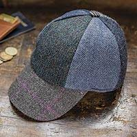 Men's wool patchwork baseball cap, 'Grafton Street' - Men's Wool Tweed Patchwork Baseball Cap from Ireland