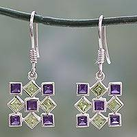 Peridot and amethyst earrings, 'Jigsaw Riddle' - Hand Made Earrings Peridot and Amethyst Sterling Silver