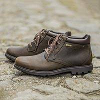 Men's leather boot, 'Rugged Comfort' - Men's Brown Waterproof Leather Comfort Ankle Boot