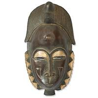 Ivorian wood mask, 'Male Baule Fertility Mask' - Hand Crafted African Mask