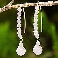 Beaded rose quartz dangle earrings, 'On the March' - Rose Quartz Dangle Style Earrings on 925 Silver Wires