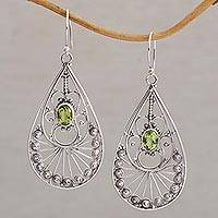 Peridot dangle earrings, 'Divine Tears' - Peridot and Sterling Silver Dangle Earrings from Bali