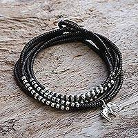 Silver wrap bracelet, 'Amazing Elephant in Brown' (Thailand)