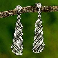 Sterling silver dangle earrings, 'Subtle Elegance' - Dangle Earrings Handcrafted of 925 Silver Chains