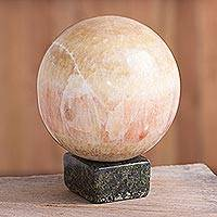 Red calcite sphere, 'Ganymede' - Hand Carved Gemstone Sphere Sculpture