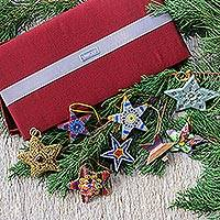 Holiday ornament set, 'Stars of The World' (set of 8) - Assorted Box of Holiday Star Ornaments (Set of 8)