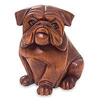 Wood sculpture, 'Curious Bulldog' - Hand Carved Wood Bulldog Puppy Sculpture from Bali