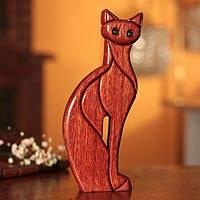 Ishpingo wood sculpture, 'Cat Pose' - Ishpingo Wood Carved Cat Sculpture