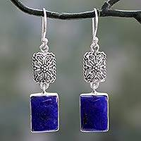 Lapis lazuli dangle earrings, 'Royal Galaxy' - Hand Crafted Lapis Lazuli and Sterling Silver Earrings