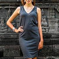 Sleeveless cotton dress, 'Sincerity in Graphite' - Sleeveless Grey 100% Cotton Dress from Indonesia