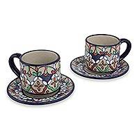 Ceramic demitasse cups and saucers, 'Guanajuato Festivals' (set for 2) - Handcrafted Mexican Ceramic Demitasse Set for 2