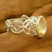 Citrine cocktail ring, 'Daydream' - Handcrafted Citrine Single Stone Ring