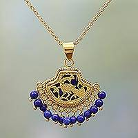 Gold plated lapis lazuli pendant necklace, 'Radiant Peacock' - Lapis Lazuli Peacock Pendant Necklace in 23k Gold