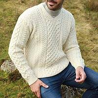 Men's wool sweater, 'Cliffs of Inis Mor' - Men's Irish Aran Islands Wool V-Neck Sweater
