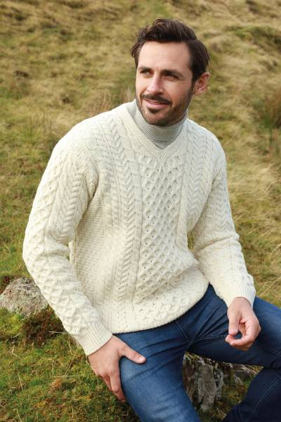 Mens wool sweater, Cliffs of Inis Mor