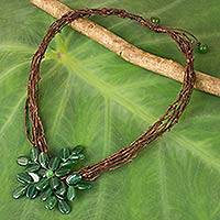 Green quartz beaded pendant necklace, 'Twigs and Flowers' - Artisan Crafted Green Quartz Flower Necklace from Thailand