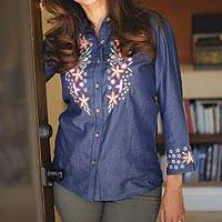 Embroidered rayon shirt, 'Himalayan Meadow' - Himalayan Floral Embroidered Lyocell Rayon Shirt