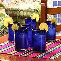 Drinking glasses, 'Solid Blue' (set of 6) - Handblown Glass Recycled Blue Tumblers Drinkware (Set of 6)