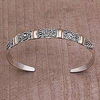 Gold accent sterling silver cuff bracelet, 'Merajan Mystique' (Indonesia)