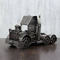 Auto part statuette, 'Rustic Semi Truck Cab' - Original Trucker Statuette of Recyled Car Parts from Mexico