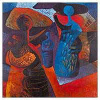 'Florist II' - Signed Expressionist Painting of Two Women from Peru