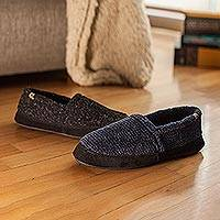 Men's fleece moccasin slippers, 'Fireside' - Cloud Cushion Men's Fleece Moccasin Slippers