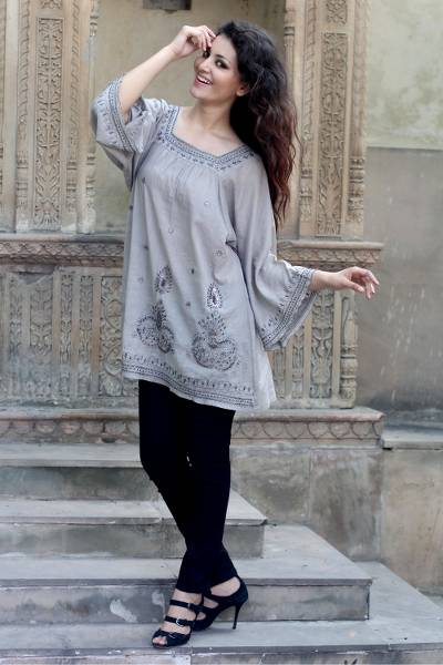 Beaded cotton blouse, Romance