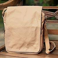 Leather shoulder bag, 'Mataram Traveler' - Handcrafted Leather Shoulder Bag Beige Front Flap 6 Pockets