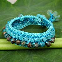 Amazonite wristband bracelet, 'Daydreams' - Crocheted Wristband Bracelet with Multi Gemstone Jewelry