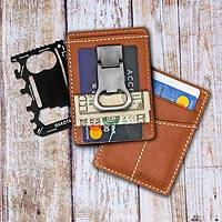 Leather card case with multi- tool and money clip, 'Paramount' - All-in-One Leather Card Case and Multi tool with Money Clip