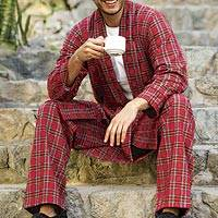 Men's cotton flannel robe, 'High Glen' - Men's Irish Brushed Cotton Flannel Robe