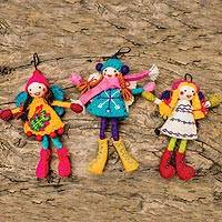 Wool felt ornaments, 'Icelandic Fairies' (set of 3) - Hand-Felted Wool Fairy Ornaments (Set of 3)