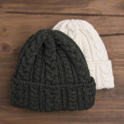 Knit wool hat, 'Galway Bay' - Irish Aran Knit Wool Hat