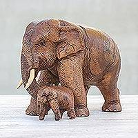 Teak sculptures, 'Father and Son' - Thai Teakwood Elephant Sculpture