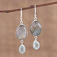 Labradorite and blue topaz dangle earrings,