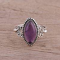 Amethyst cocktail ring, 'Captivating Lilac' - Amethyst and Sterling Silver Cocktail Ring from India