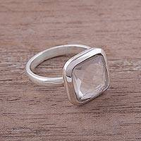 Quartz cocktail ring, 'Beautiful Soul' - Square Quartz and Sterling Silver Cocktail Ring from Peru