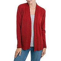 Alpaca blend cardigan, 'Fireside Cheer' - Red Alpaca Blend Cable and Eyelet Trimmed Cardigan Sweater