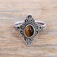 Tiger's eye cocktail ring, 'Daydream Temple' - Handcrafted Tiger's Eye Cocktail Ring from Bali