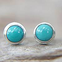Sterling silver stud earrings, 'Blue Moons' - Silver and Reconstituted Turquoise Stud Earrings