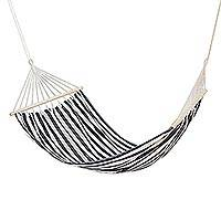 Cotton hammock, 'Zebra Stripes' (single) - Black and White Striped Cotton Hammock (Single)