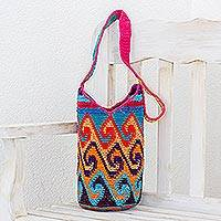 Cotton bucket bag, 'Multicolored Waves' - Crocheted Wave Motif Cotton Bucket Bag from Guatemala