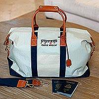 Leather accented nylon duffel bag, 'Nantucket Race Week' - Nantucket Race Week Nylon Duffel with Leather Trim